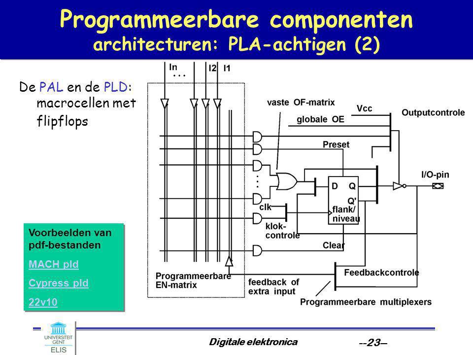 Digitale elektronica --23-- Programmeerbare componenten architecturen: PLA-achtigen (2) De PAL en de PLD: macrocellen met flipflops Voorbeelden van pd