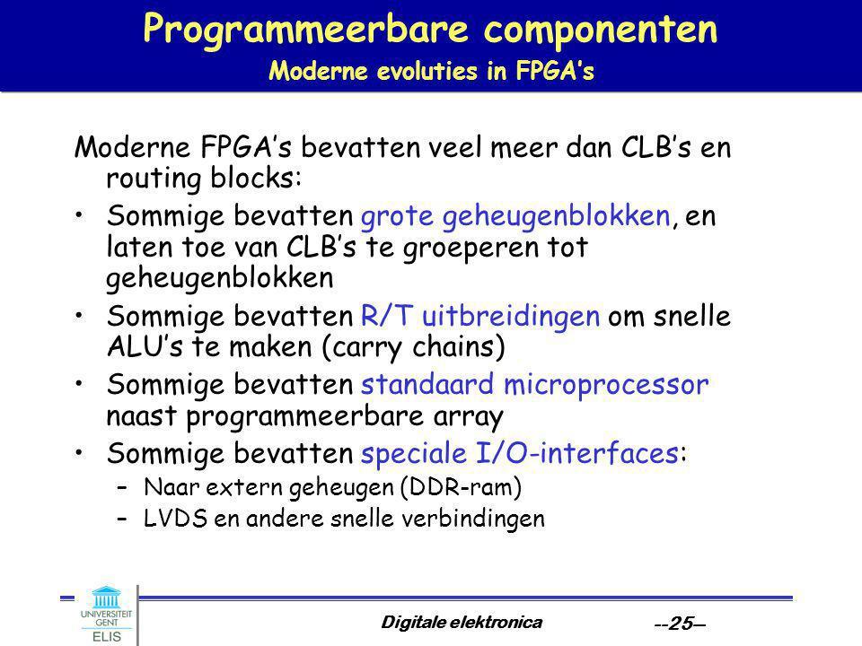 Digitale elektronica --25-- Programmeerbare componenten Moderne evoluties in FPGA's Moderne FPGA's bevatten veel meer dan CLB's en routing blocks: Sommige bevatten grote geheugenblokken, en laten toe van CLB's te groeperen tot geheugenblokken Sommige bevatten R/T uitbreidingen om snelle ALU's te maken (carry chains) Sommige bevatten standaard microprocessor naast programmeerbare array Sommige bevatten speciale I/O-interfaces: –Naar extern geheugen (DDR-ram) –LVDS en andere snelle verbindingen