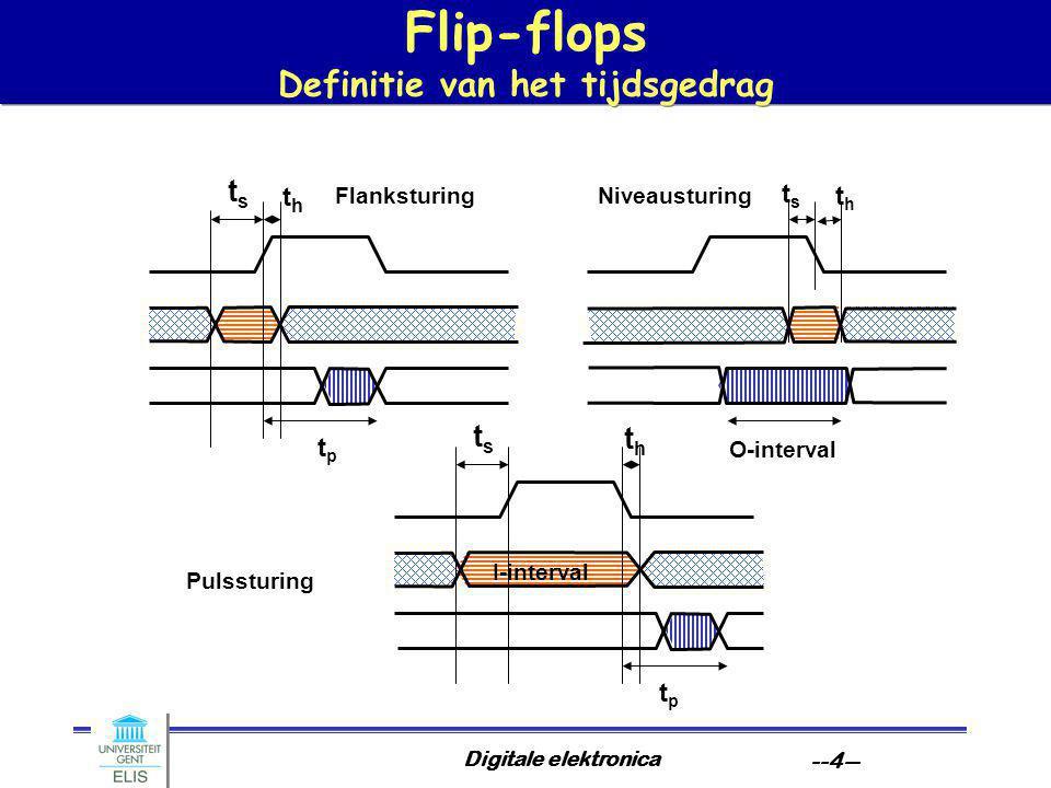 Digitale elektronica --4-- Flip-flops Definitie van het tijdsgedrag tsts thth tptp tsts thth Flanksturing tsts thth tptp O-interval I-interval Niveausturing Pulssturing