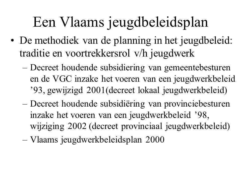 Een Vlaams jeugdbeleidsplan De methodiek van de planning in het jeugdbeleid: traditie en voortrekkersrol v/h jeugdwerk –Decreet houdende subsidiering van gemeentebesturen en de VGC inzake het voeren van een jeugdwerkbeleid '93, gewijzigd 2001(decreet lokaal jeugdwerkbeleid) –Decreet houdende subsidiëring van provinciebesturen inzake het voeren van een jeugdwerkbeleid '98, wijziging 2002 (decreet provinciaal jeugdwerkbeleid) –Vlaams jeugdwerkbeleidsplan 2000
