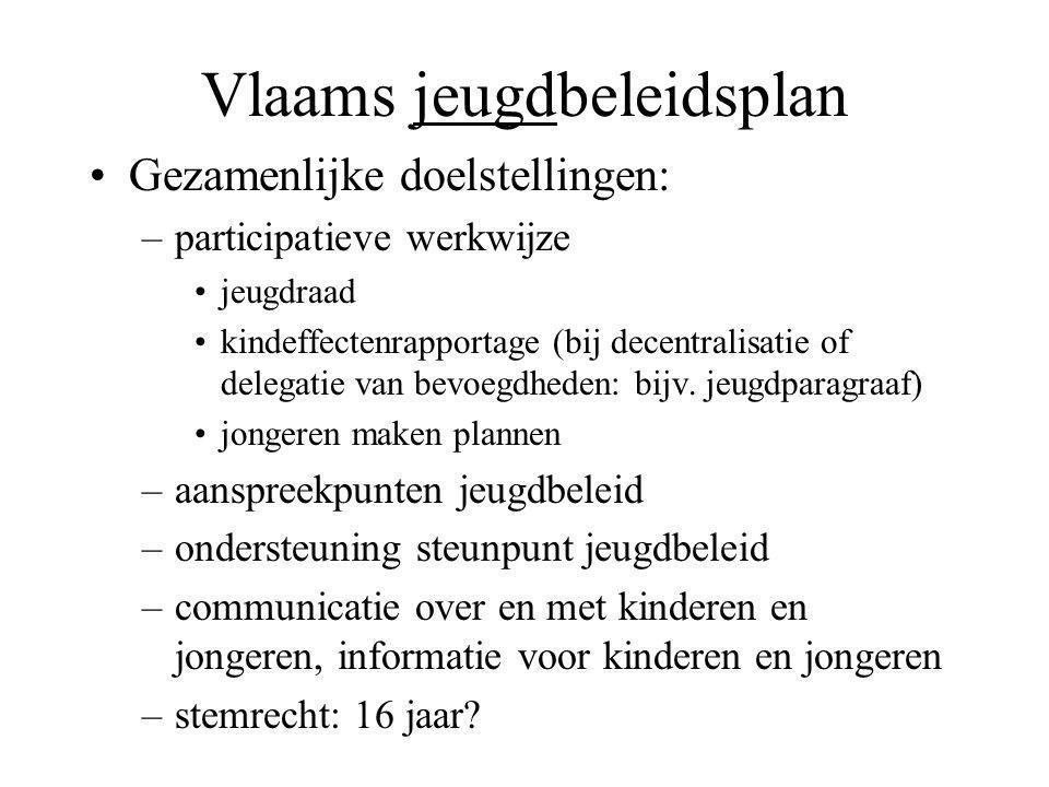 Vlaams jeugdbeleidsplan Gezamenlijke doelstellingen: –participatieve werkwijze jeugdraad kindeffectenrapportage (bij decentralisatie of delegatie van bevoegdheden: bijv.