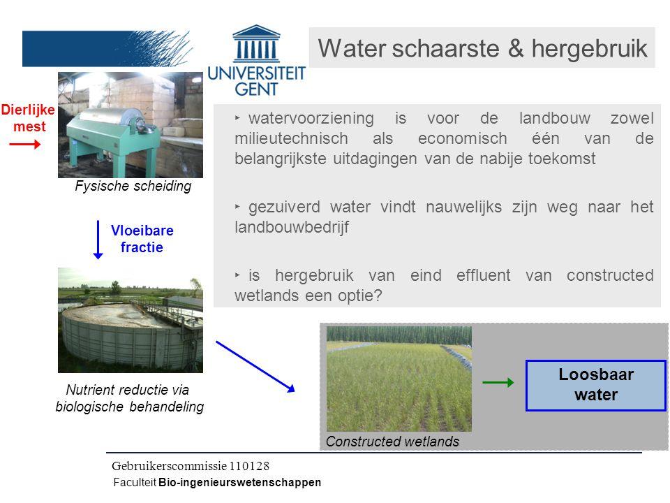 Kick-off IWT CLO 080504 Faculteit Bio-ingenieurswetenschappen Dierlijke mest Vloeibare fractie Fysische scheiding Nutrient reductie via biologische behandeling Loosbaar water Constructed wetlands Water schaarste & hergebruik ‣ watervoorziening is voor de landbouw zowel milieutechnisch als economisch één van de belangrijkste uitdagingen van de nabije toekomst ‣ gezuiverd water vindt nauwelijks zijn weg naar het landbouwbedrijf ‣ is hergebruik van eind effluent van constructed wetlands een optie.