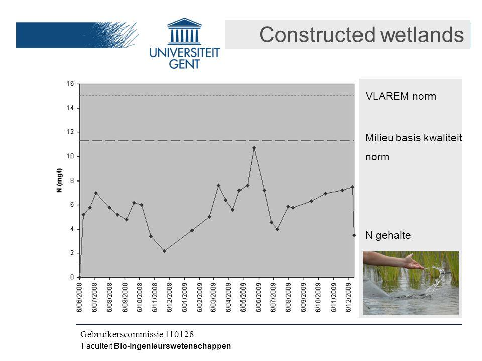 Kick-off IWT CLO 080504 Faculteit Bio-ingenieurswetenschappen Constructed wetlands VLAREM norm N gehalte Milieu basis kwaliteit norm Gebruikerscommissie 110128