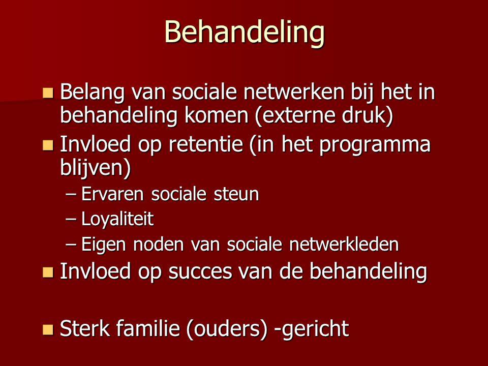 Behandeling Belang van sociale netwerken bij het in behandeling komen (externe druk) Belang van sociale netwerken bij het in behandeling komen (extern