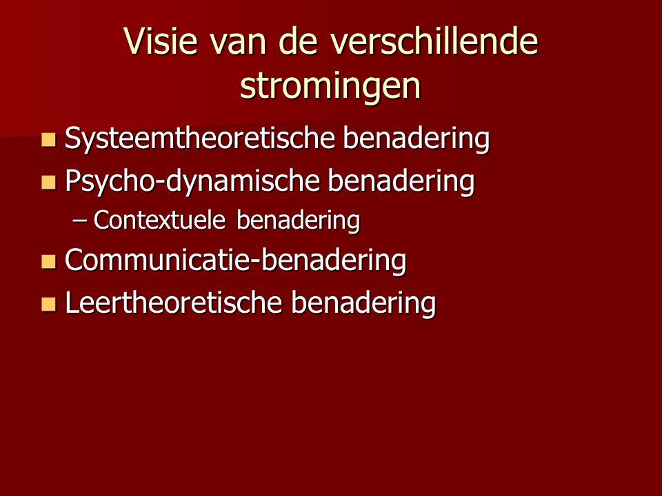Visie van de verschillende stromingen Systeemtheoretische benadering Systeemtheoretische benadering Psycho-dynamische benadering Psycho-dynamische ben