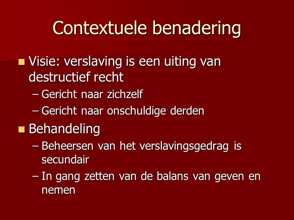 Contextuele benadering Visie: verslaving is een uiting van destructief recht Visie: verslaving is een uiting van destructief recht –Gericht naar zichz