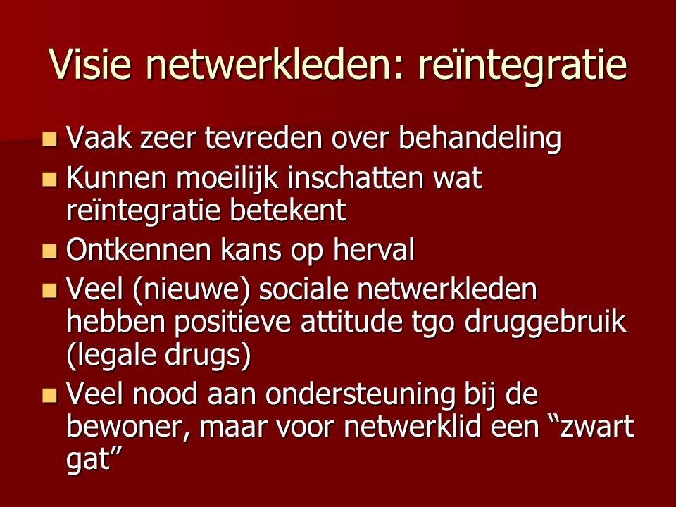 Visie netwerkleden: reïntegratie Vaak zeer tevreden over behandeling Vaak zeer tevreden over behandeling Kunnen moeilijk inschatten wat reïntegratie b
