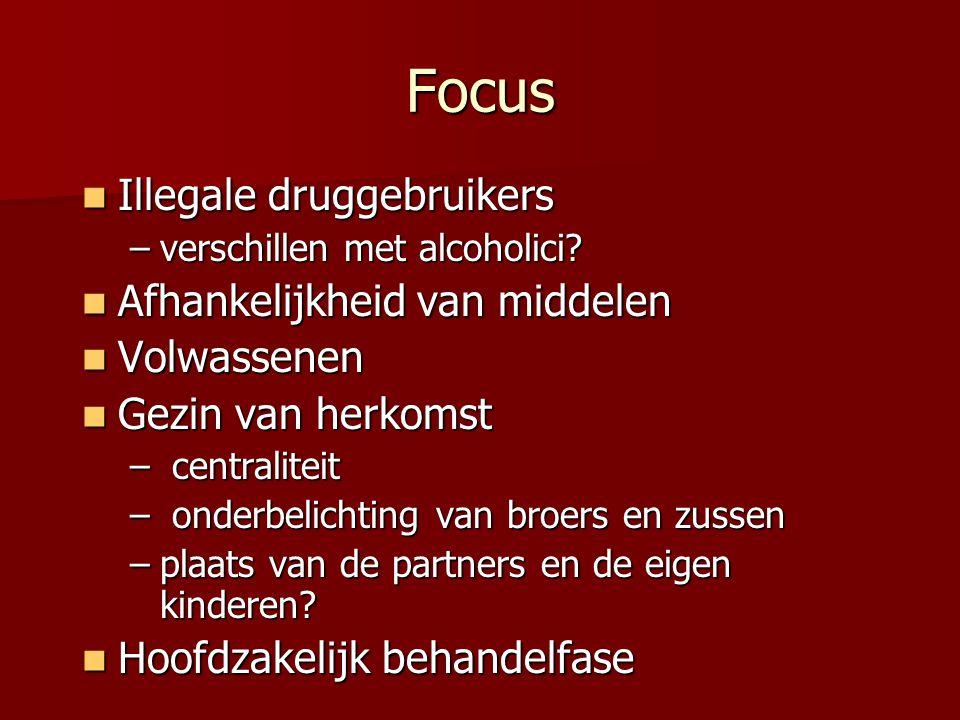 Focus Illegale druggebruikers Illegale druggebruikers –verschillen met alcoholici? Afhankelijkheid van middelen Afhankelijkheid van middelen Volwassen