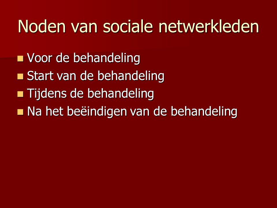 Noden van sociale netwerkleden Voor de behandeling Voor de behandeling Start van de behandeling Start van de behandeling Tijdens de behandeling Tijden