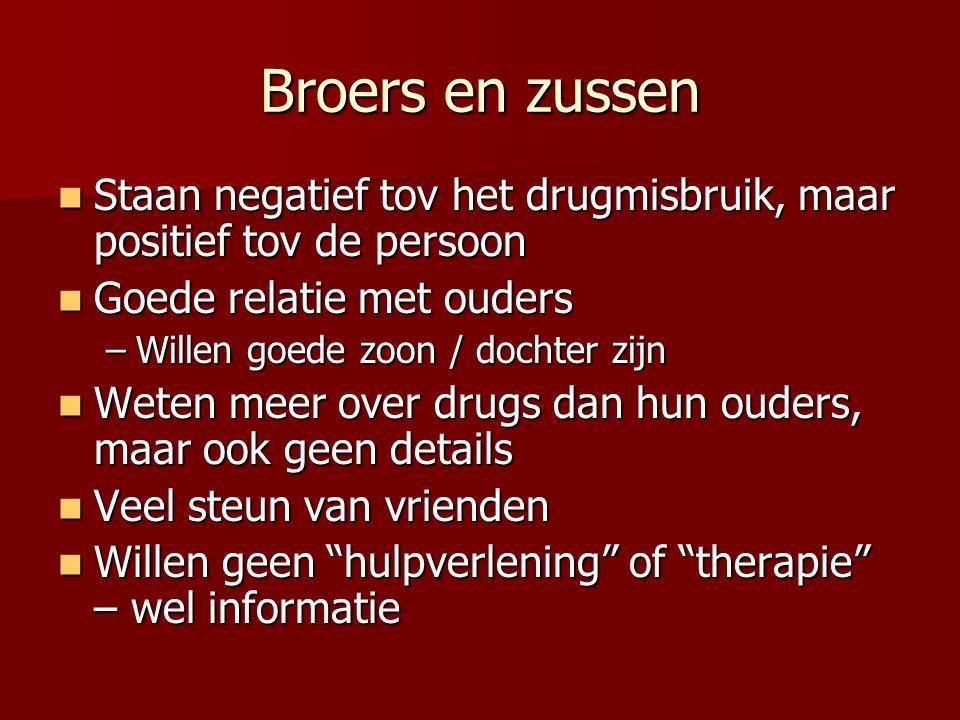 Broers en zussen Staan negatief tov het drugmisbruik, maar positief tov de persoon Staan negatief tov het drugmisbruik, maar positief tov de persoon G