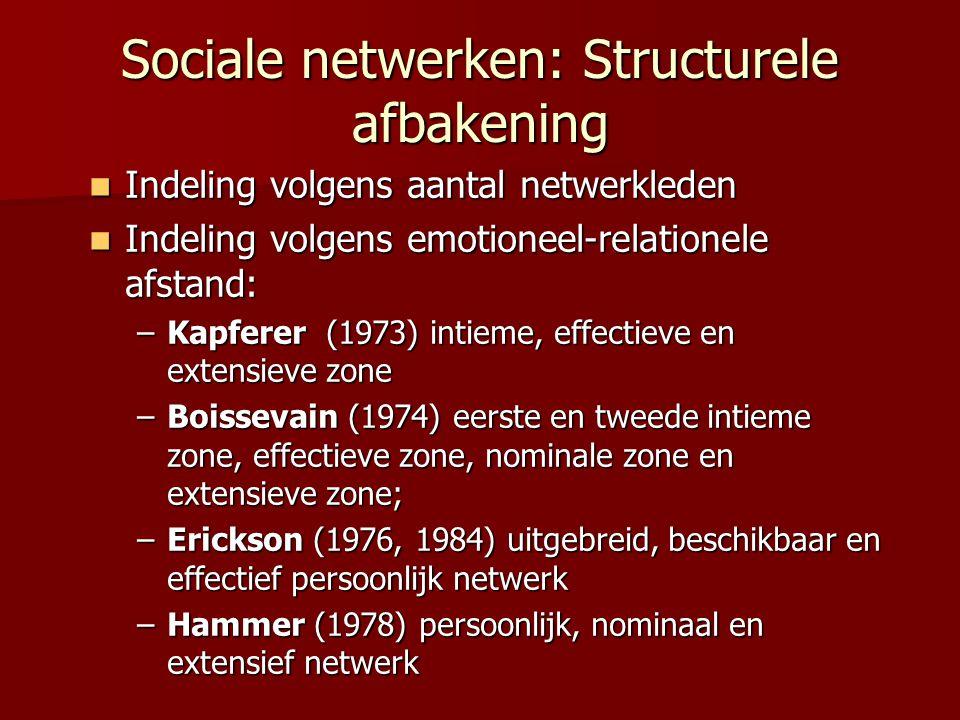 Sociale netwerken: Structurele afbakening Indeling volgens aantal netwerkleden Indeling volgens aantal netwerkleden Indeling volgens emotioneel-relati