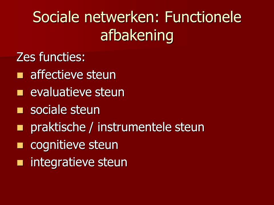 Sociale netwerken: Functionele afbakening Zes functies: affectieve steun affectieve steun evaluatieve steun evaluatieve steun sociale steun sociale st