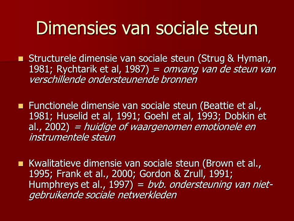 Dimensies van sociale steun Structurele dimensie van sociale steun (Strug & Hyman, 1981; Rychtarik et al, 1987) = omvang van de steun van verschillend