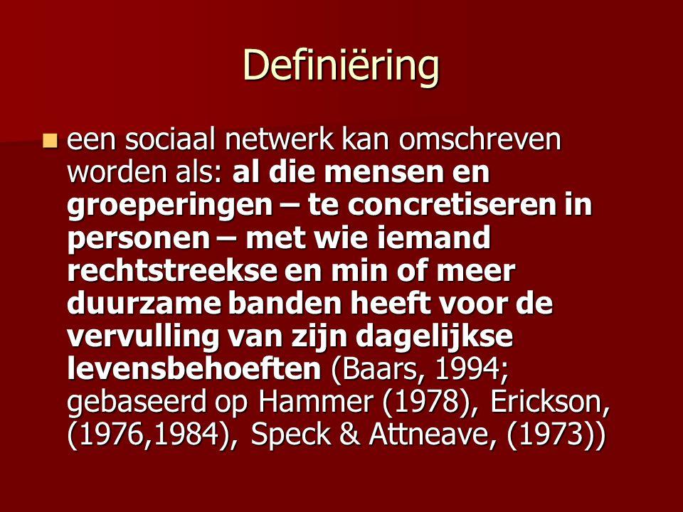Definiëring een sociaal netwerk kan omschreven worden als: al die mensen en groeperingen – te concretiseren in personen – met wie iemand rechtstreekse