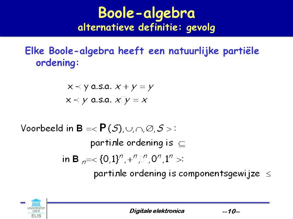 Digitale elektronica --10-- Boole-algebra alternatieve definitie: gevolg Elke Boole-algebra heeft een natuurlijke partiële ordening: