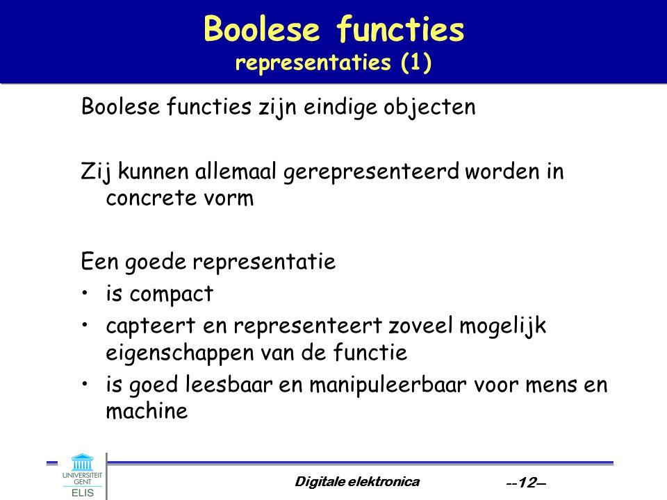 Digitale elektronica --12-- Boolese functies representaties (1) Boolese functies zijn eindige objecten Zij kunnen allemaal gerepresenteerd worden in c