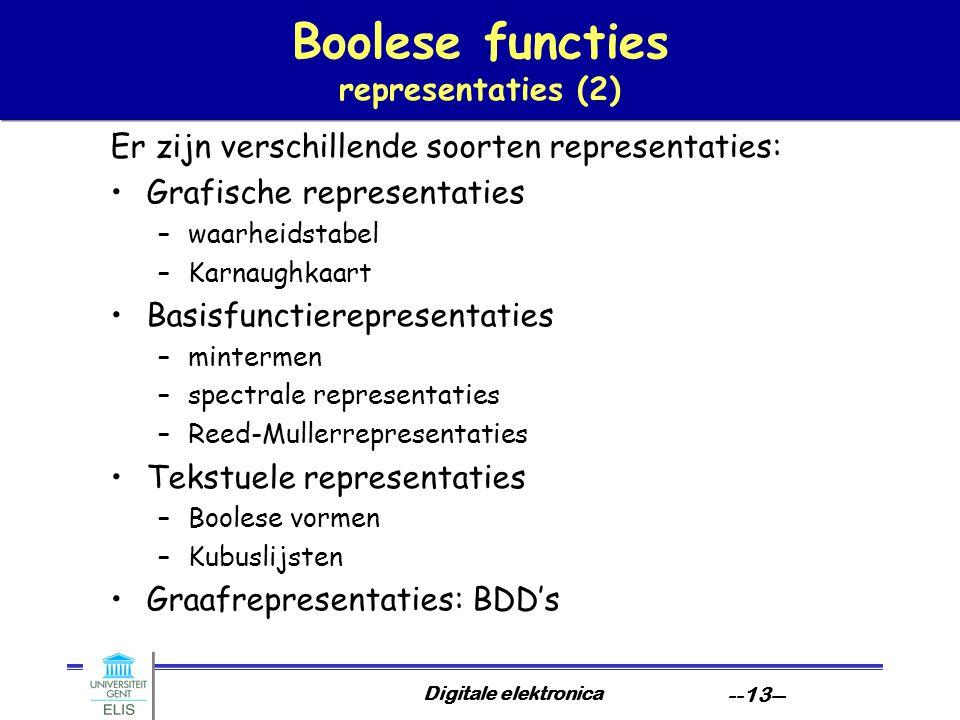 Digitale elektronica --13-- Boolese functies representaties (2) Er zijn verschillende soorten representaties: Grafische representaties –waarheidstabel