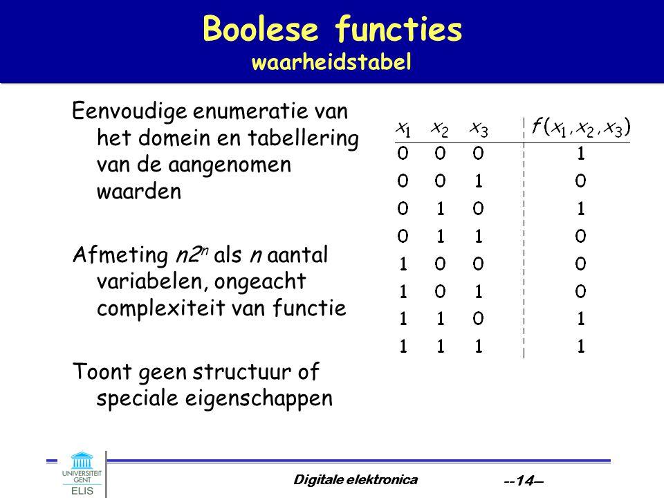 Digitale elektronica --14-- Boolese functies waarheidstabel Eenvoudige enumeratie van het domein en tabellering van de aangenomen waarden Afmeting n2