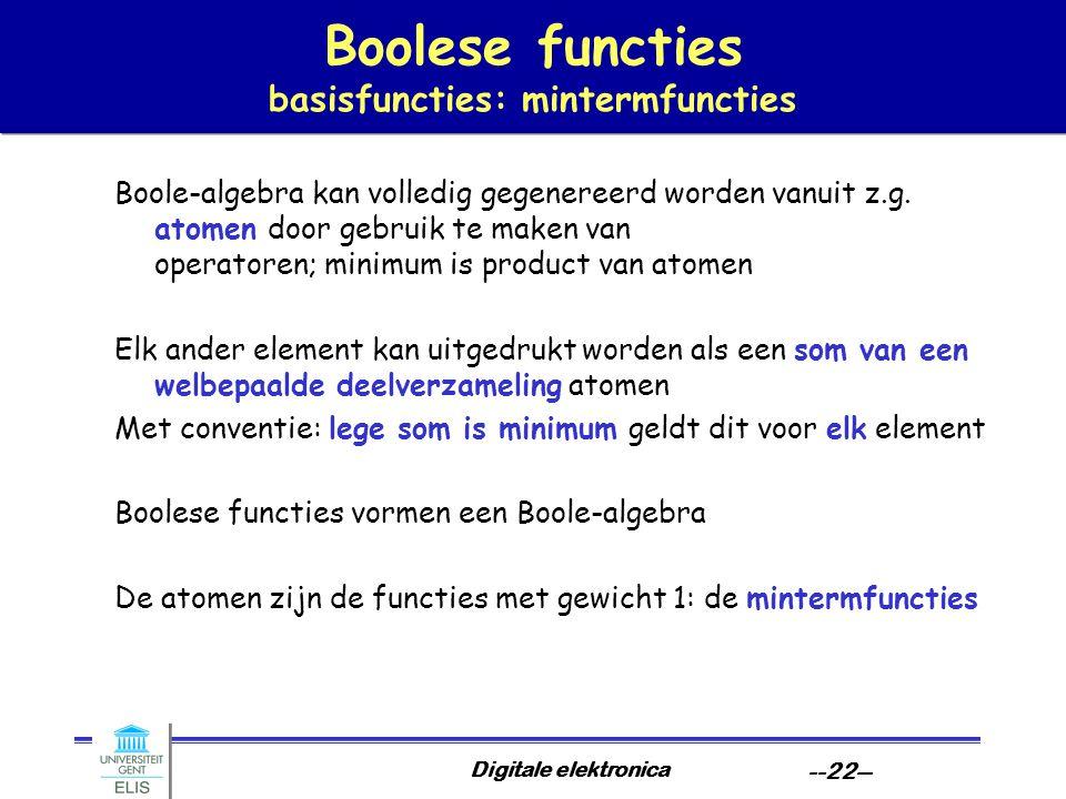 Digitale elektronica --22-- Boolese functies basisfuncties: mintermfuncties Boole-algebra kan volledig gegenereerd worden vanuit z.g. atomen door gebr