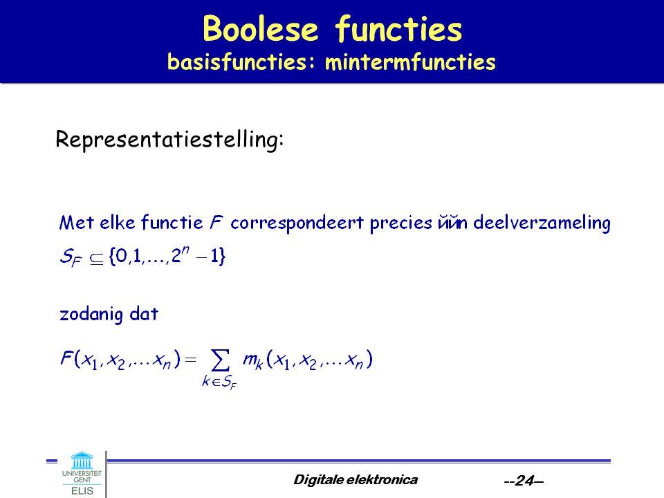 Digitale elektronica --24-- Boolese functies basisfuncties: mintermfuncties Representatiestelling: