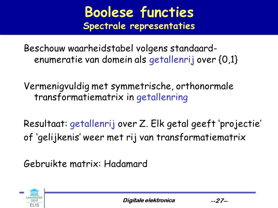 Digitale elektronica --27-- Boolese functies Spectrale representaties Beschouw waarheidstabel volgens standaard- enumeratie van domein als getallenrij