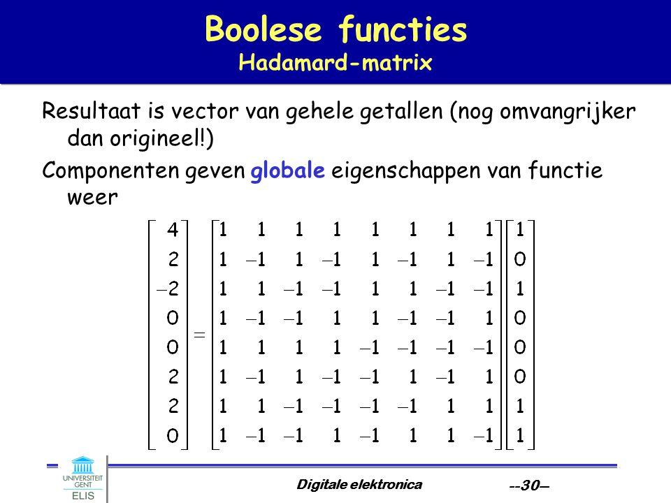 Digitale elektronica --30-- Boolese functies Hadamard-matrix Resultaat is vector van gehele getallen (nog omvangrijker dan origineel!) Componenten gev