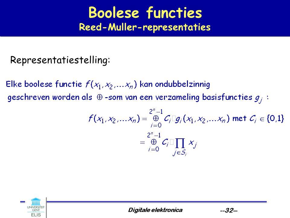 Digitale elektronica --32-- Boolese functies Reed-Muller-representaties Representatiestelling: