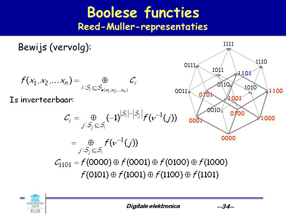 Digitale elektronica --34-- Boolese functies Reed-Muller-representaties Bewijs (vervolg): 0000 1010 1000 0010 0100 1110 1100 0110 0001 1011 1001 0011