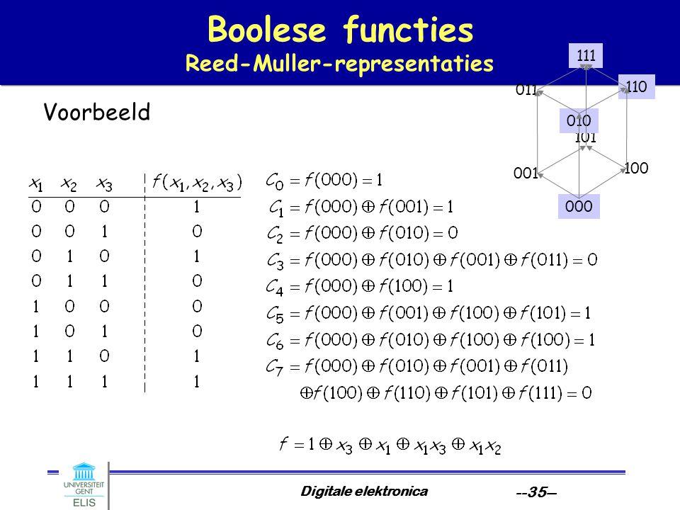 Digitale elektronica --35-- Boolese functies Reed-Muller-representaties Voorbeeld 000 101 100 001 010 111 110 011