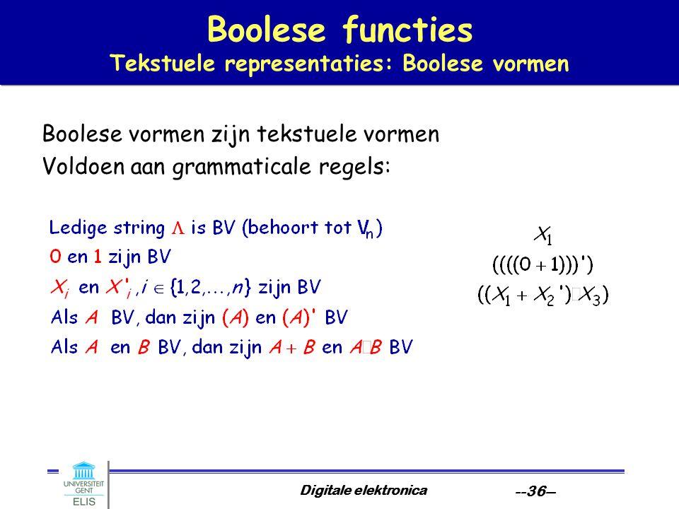 Digitale elektronica --36-- Boolese functies Tekstuele representaties: Boolese vormen Boolese vormen zijn tekstuele vormen Voldoen aan grammaticale re