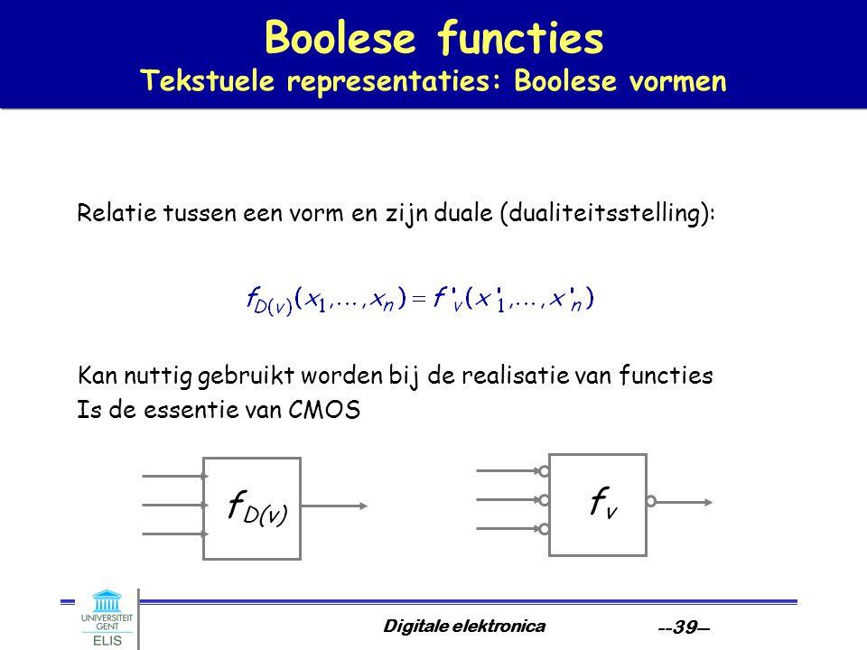Digitale elektronica --39-- Boolese functies Tekstuele representaties: Boolese vormen Relatie tussen een vorm en zijn duale (dualiteitsstelling): Kan