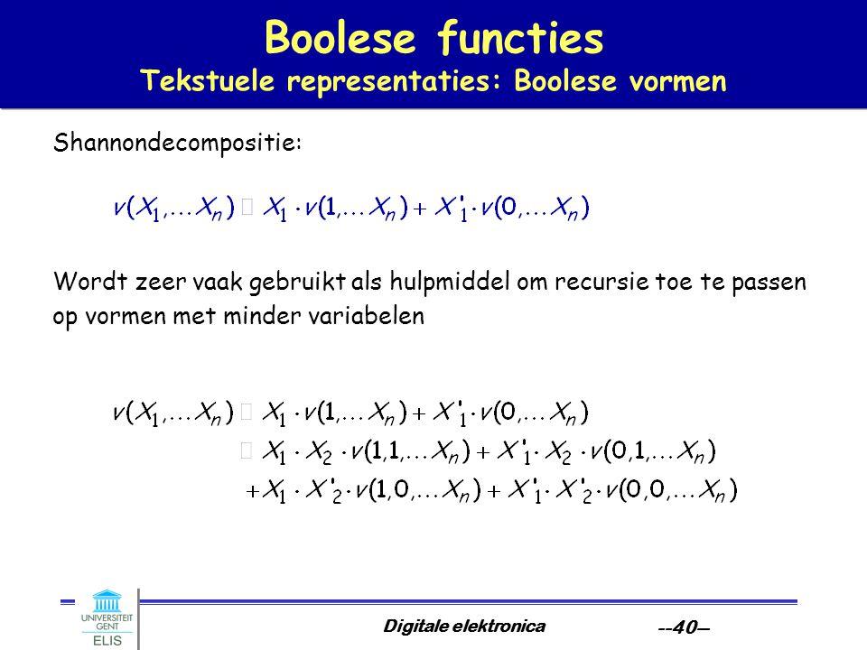 Digitale elektronica --40-- Boolese functies Tekstuele representaties: Boolese vormen Shannondecompositie: Wordt zeer vaak gebruikt als hulpmiddel om