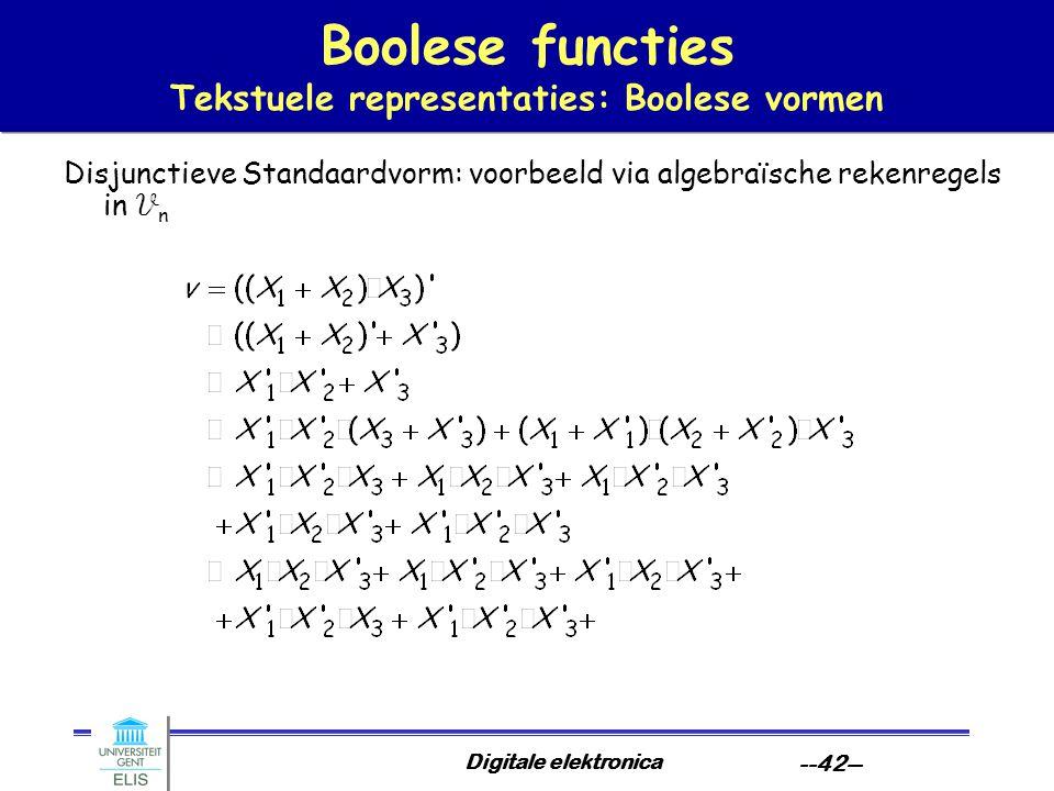 Digitale elektronica --42-- Boolese functies Tekstuele representaties: Boolese vormen Disjunctieve Standaardvorm: voorbeeld via algebraïsche rekenrege
