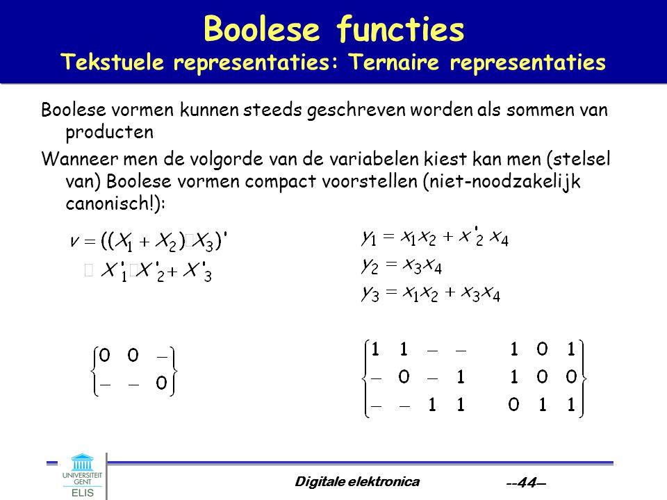 Digitale elektronica --44-- Boolese functies Tekstuele representaties: Ternaire representaties Boolese vormen kunnen steeds geschreven worden als somm