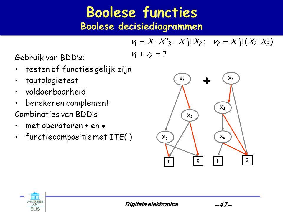 Digitale elektronica --47-- Boolese functies Boolese decisiediagrammen Gebruik van BDD's: testen of functies gelijk zijn tautologietest voldoenbaarhei