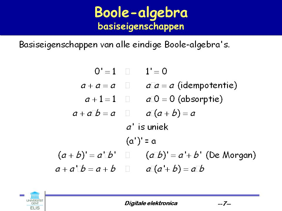Digitale elektronica --7-- Boole-algebra basiseigenschappen