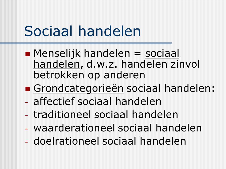Sociaal handelen Menselijk handelen = sociaal handelen, d.w.z. handelen zinvol betrokken op anderen Grondcategorieën sociaal handelen: - affectief soc