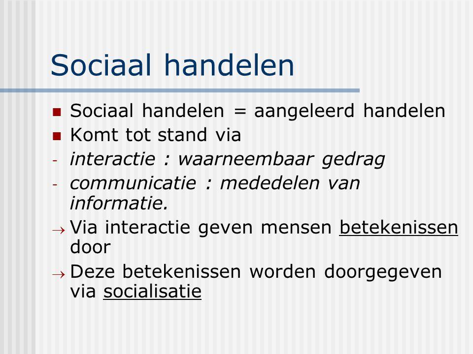 Sociaal handelen Sociaal handelen = aangeleerd handelen Komt tot stand via - interactie : waarneembaar gedrag - communicatie : mededelen van informati