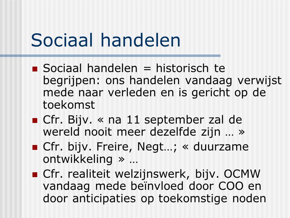Sociaal handelen Sociaal handelen = historisch te begrijpen: ons handelen vandaag verwijst mede naar verleden en is gericht op de toekomst Cfr.