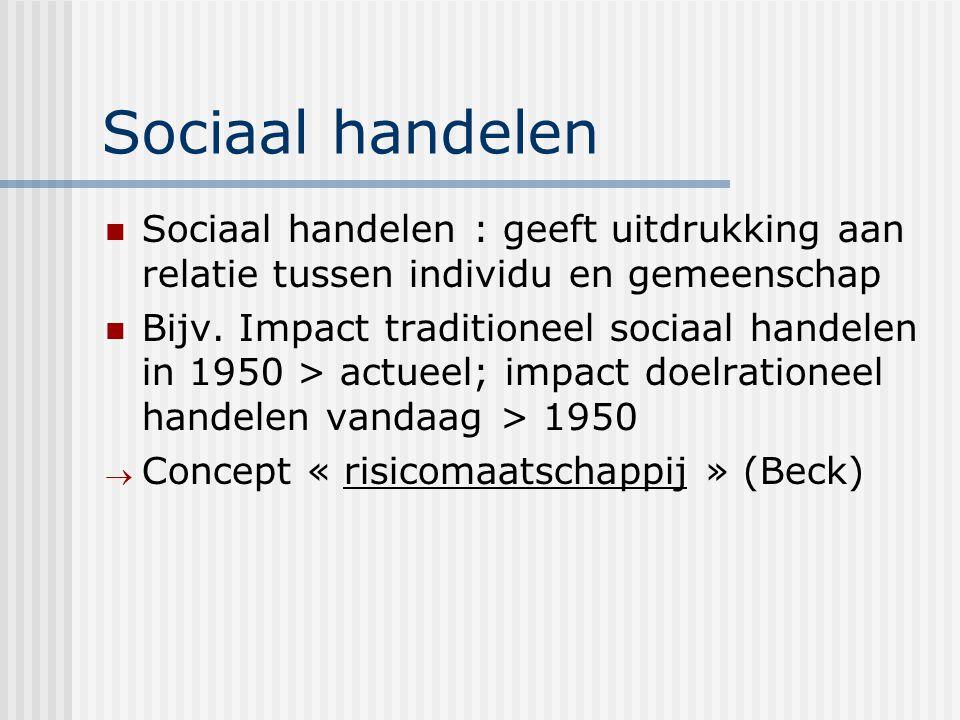 Sociaal handelen Sociaal handelen : geeft uitdrukking aan relatie tussen individu en gemeenschap Bijv. Impact traditioneel sociaal handelen in 1950 >
