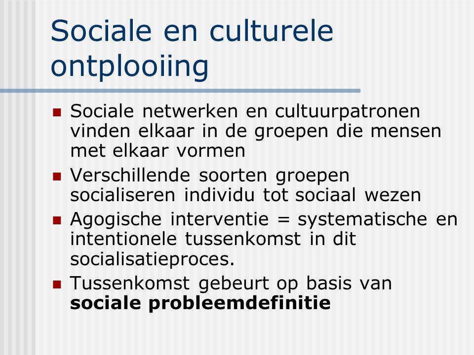 Sociale en culturele ontplooiing Sociale netwerken en cultuurpatronen vinden elkaar in de groepen die mensen met elkaar vormen Verschillende soorten g