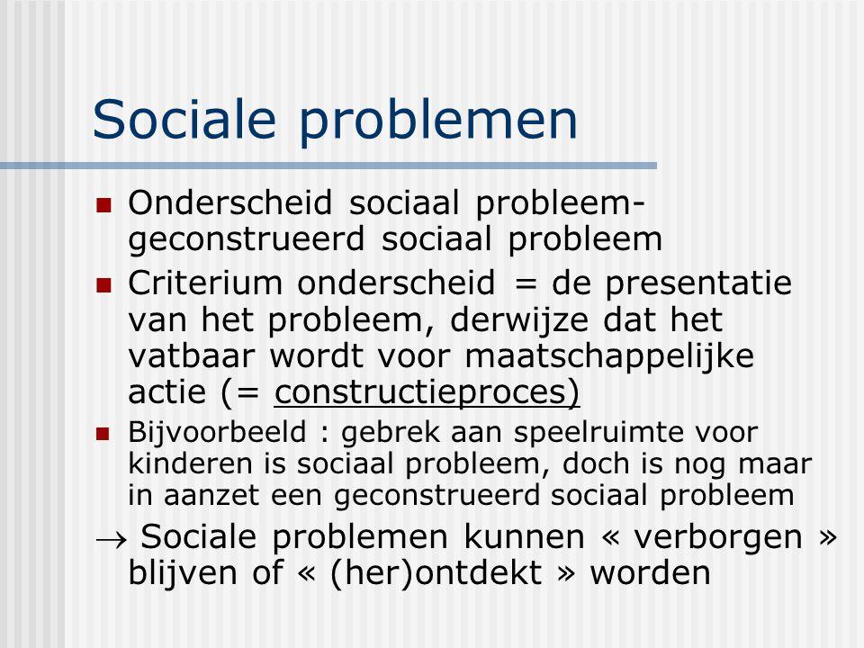 Sociale problemen Onderscheid sociaal probleem- geconstrueerd sociaal probleem Criterium onderscheid = de presentatie van het probleem, derwijze dat h