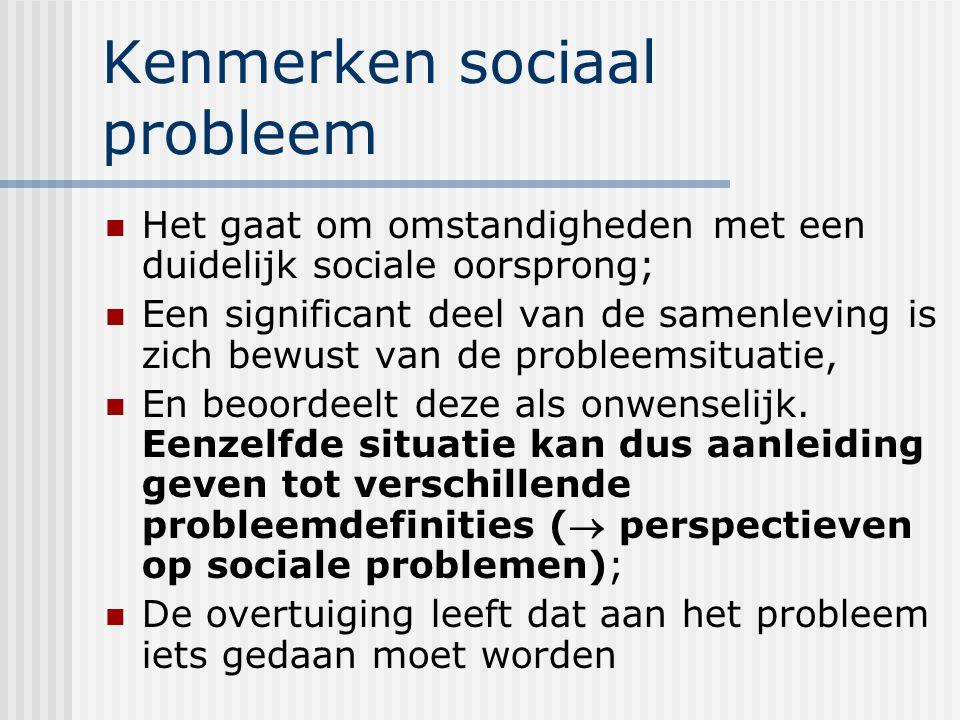 Kenmerken sociaal probleem Het gaat om omstandigheden met een duidelijk sociale oorsprong; Een significant deel van de samenleving is zich bewust van de probleemsituatie, En beoordeelt deze als onwenselijk.