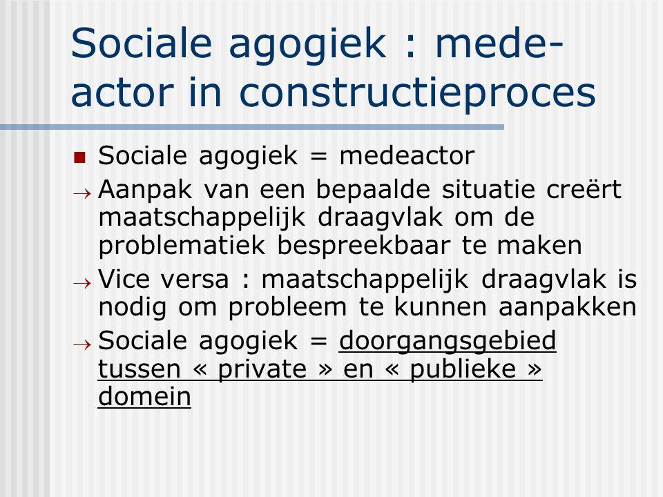 Sociale agogiek : mede- actor in constructieproces Sociale agogiek = medeactor  Aanpak van een bepaalde situatie creërt maatschappelijk draagvlak om
