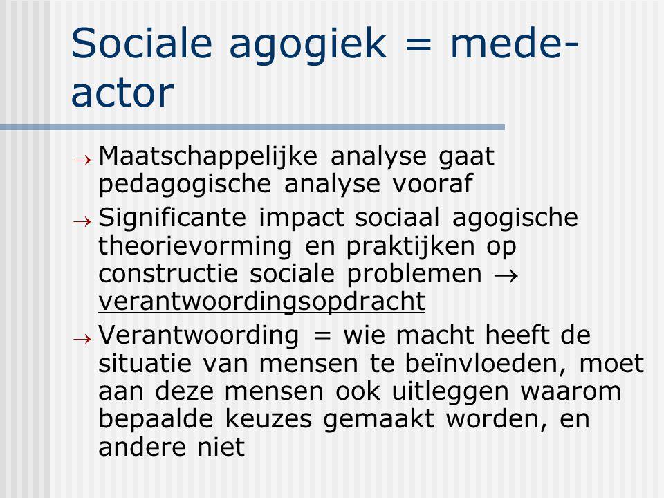 Sociale agogiek = mede- actor  Maatschappelijke analyse gaat pedagogische analyse vooraf  Significante impact sociaal agogische theorievorming en praktijken op constructie sociale problemen  verantwoordingsopdracht  Verantwoording = wie macht heeft de situatie van mensen te beïnvloeden, moet aan deze mensen ook uitleggen waarom bepaalde keuzes gemaakt worden, en andere niet