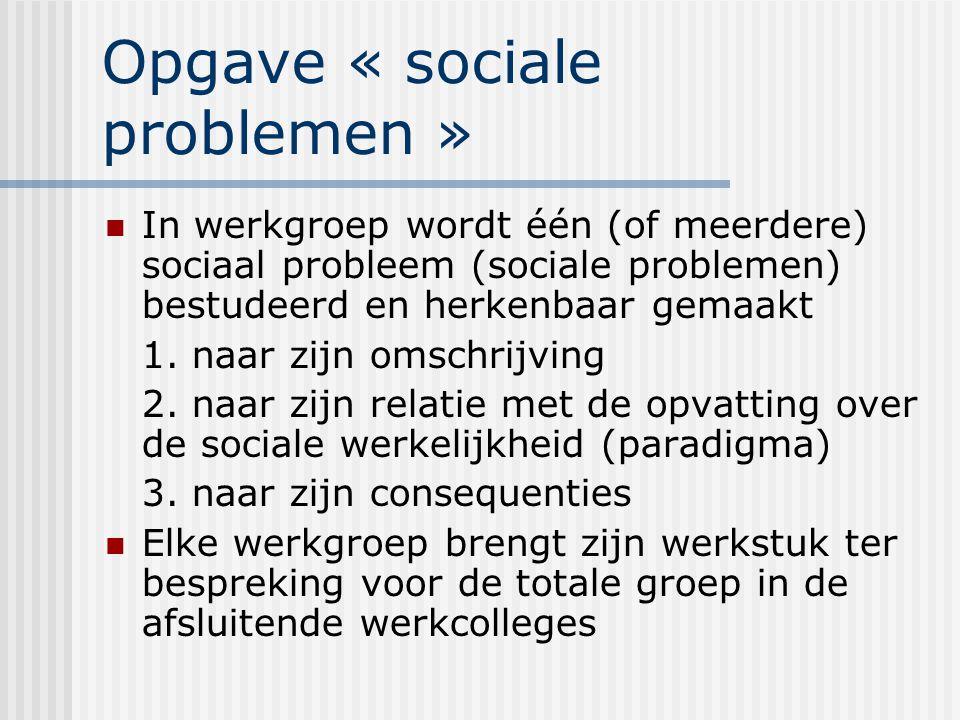 Opgave « sociale problemen » In werkgroep wordt één (of meerdere) sociaal probleem (sociale problemen) bestudeerd en herkenbaar gemaakt 1. naar zijn o