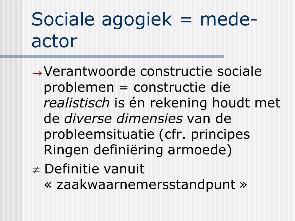 Sociale agogiek = mede- actor  Verantwoorde constructie sociale problemen = constructie die realistisch is én rekening houdt met de diverse dimensies van de probleemsituatie (cfr.