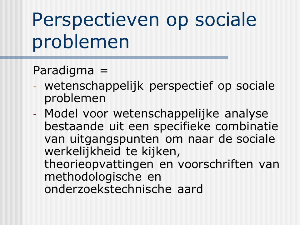 Perspectieven op sociale problemen Paradigma = - wetenschappelijk perspectief op sociale problemen - Model voor wetenschappelijke analyse bestaande uit een specifieke combinatie van uitgangspunten om naar de sociale werkelijkheid te kijken, theorieopvattingen en voorschriften van methodologische en onderzoekstechnische aard