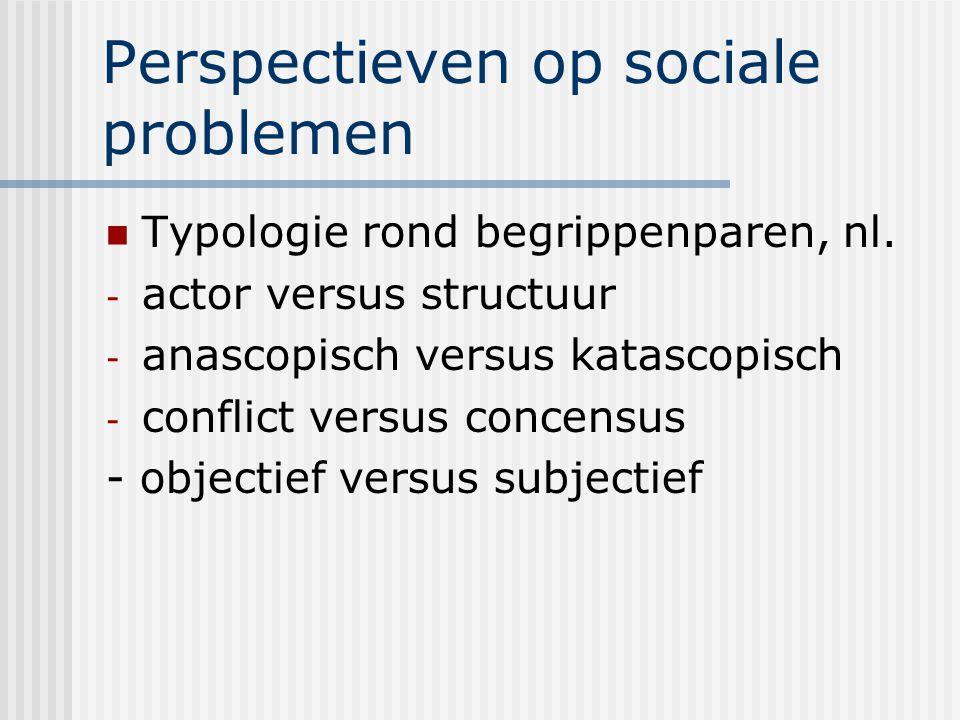 Perspectieven op sociale problemen Typologie rond begrippenparen, nl. - actor versus structuur - anascopisch versus katascopisch - conflict versus con