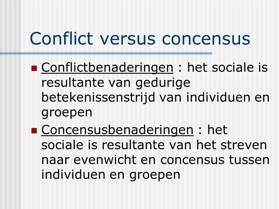 Conflict versus concensus Conflictbenaderingen : het sociale is resultante van gedurige betekenissenstrijd van individuen en groepen Concensusbenaderingen : het sociale is resultante van het streven naar evenwicht en concensus tussen individuen en groepen